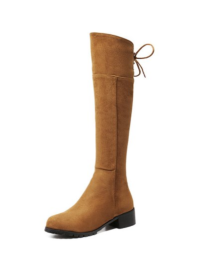 Round Toe Lace Up Chunky Heel Boots - LIGHT BROWN 38 Mobile