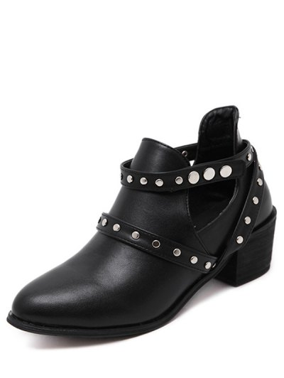 Snaps Cross Strap Closure Studded Ankle Boots - BLACK 39 Mobile