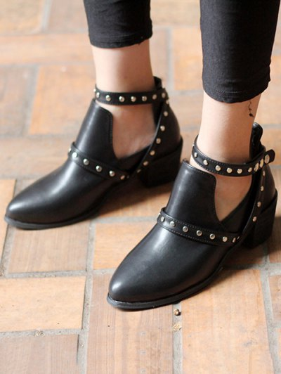 Snaps Cross Strap Closure Studded Ankle Boots - BLACK 38 Mobile