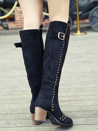 Zipper Studded Buckle Strap Knee High Boots - BLACK 37 Mobile