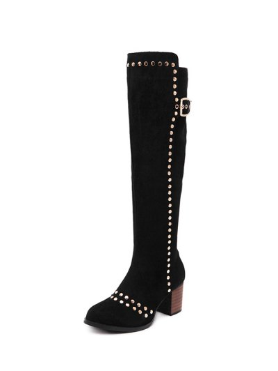 Zipper Studded Buckle Strap Knee High Boots - BLACK 38 Mobile