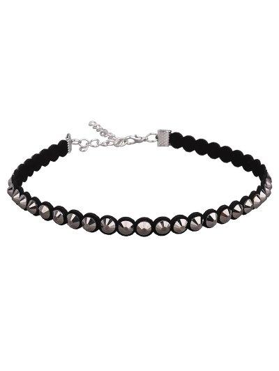 Artificial Leather Velvet Vintage Choker Necklace - BLACK  Mobile