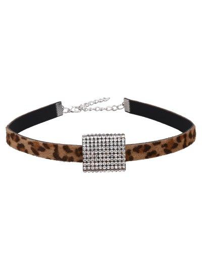 Artificial Leather Leopard Print Rhinestone Choker - LEOPARD  Mobile