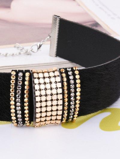 Adorn PU Leather Velvet Choker - BLACK  Mobile