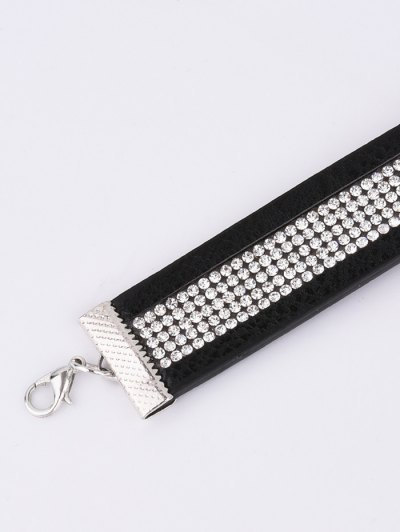 Rhinestone Faux Leather Choker - BLACK  Mobile