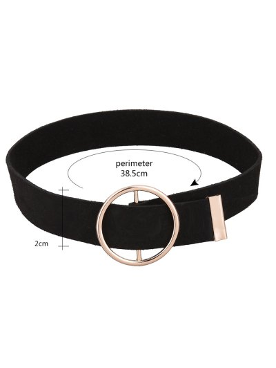 Round Faux Leather Choker Necklace - BLACK  Mobile