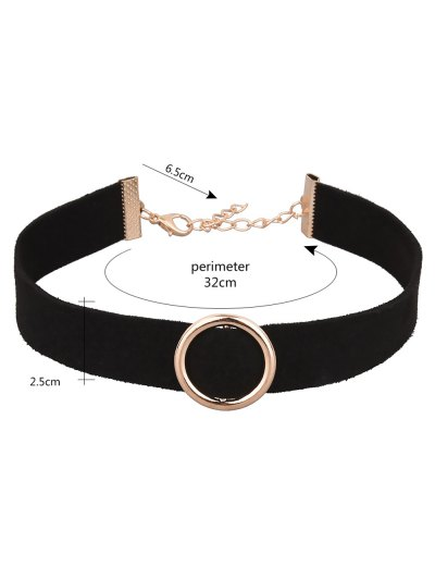 Round Faux Leather Velvet Choker Necklace - BLACK  Mobile