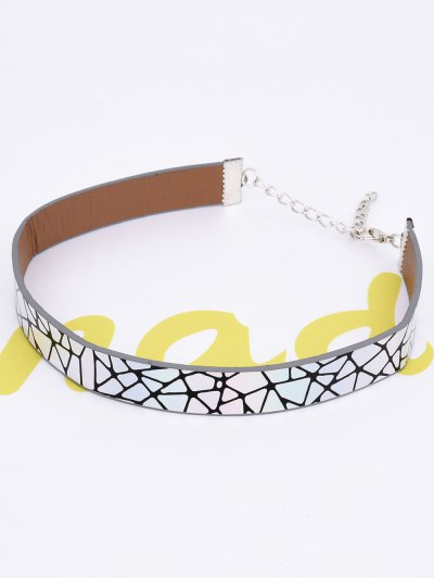 PU Leather Geometric Printed Choker Necklace - COLORMIX  Mobile