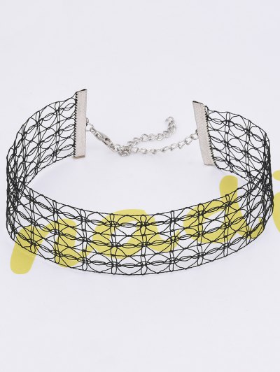 Lace Hollowed Choker Necklace - BLACK  Mobile