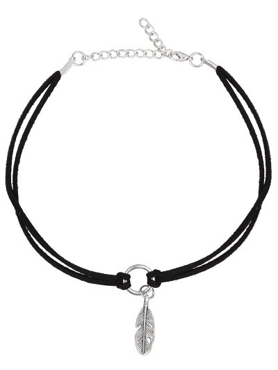 PU Leather Velvet Feather Choker Necklace - BLACK  Mobile