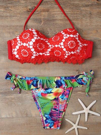 Halter Lace Printed String Bikini - RED L Mobile