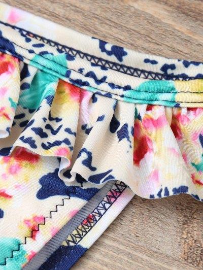 Halter Lace Printed String Bikini - BLUE L Mobile