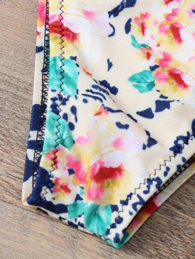 Halter Lace Printed String Bikini - BLUE S Mobile