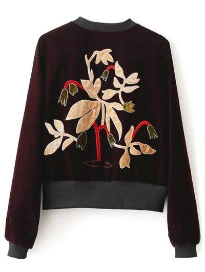 Zip-Up Velvet Souvenir Jacket - BLACK S Mobile