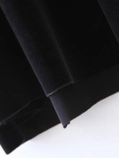 Long Sleeve Velvet Straight Dress - BLACK L Mobile