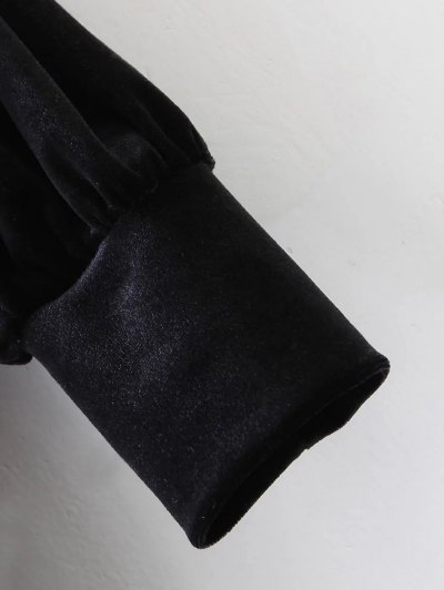 Long Sleeve Velvet Straight Dress - BLACK M Mobile
