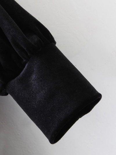 Long Sleeve Velvet Straight Dress - BLACK S Mobile