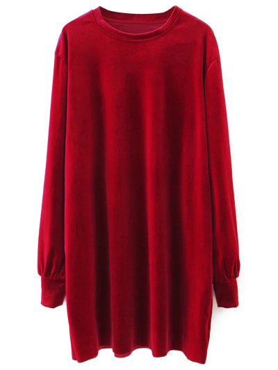 Long Sleeve Velvet Straight Dress - RED M Mobile