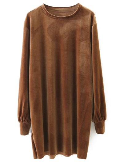 Long Sleeve Velvet Straight Dress - BROWN L Mobile