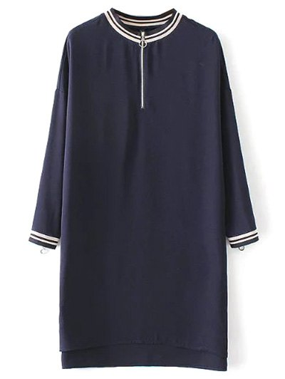 Half Zip High-Low Straight Dress - PURPLISH BLUE L Mobile