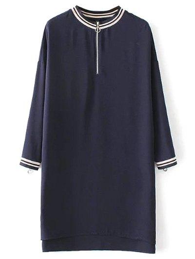 Half Zip High-Low Straight Dress - PURPLISH BLUE M Mobile