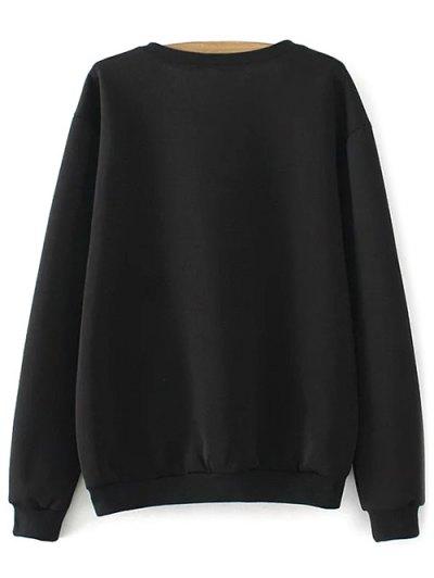 Plus Size Print Sweatshirt - BLACK 3XL Mobile