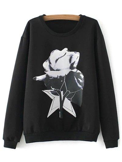 Plus Size Print Sweatshirt - BLACK XL Mobile