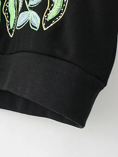 Casual Embroidered Plus Size Sweatshirt - BLACK 2XL Mobile