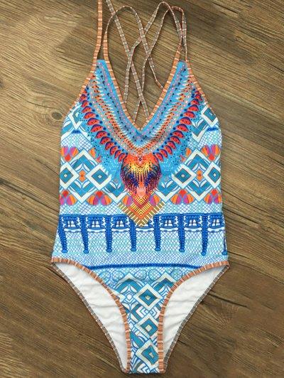 Tribal Print Criss Cross Swimwear - BLUE XL Mobile