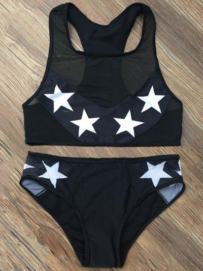 Star Mesh Panel Racerback Transparent Swimsuit - BLACK L Mobile