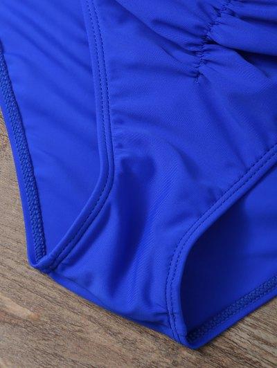 Halter Floral Underwire Tankini Set - BLUE S Mobile