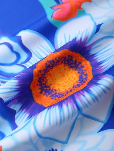 Halter Floral Underwire Tankini Set - BLUE L Mobile