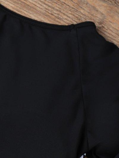 Round Neck Patterned Tankini Set - BLACK S Mobile