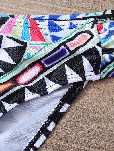 Round Neck Patterned Tankini Set - BLACK L Mobile