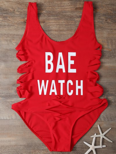 Cut Out Bae Watch Swimwear - RED M Mobile