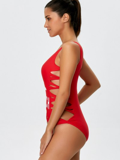 Cut Out Bae Watch Swimwear - RED L Mobile