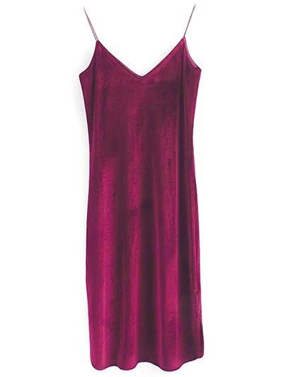 Elastic Strap Midi Velvet Dress - WINE RED S Mobile