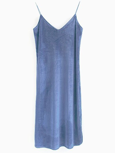 Elastic Strap Midi Velvet Dress - BLUE GRAY M Mobile