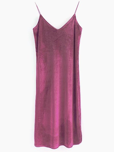 Elastic Strap Midi Velvet Dress - RUSSET-RED S Mobile