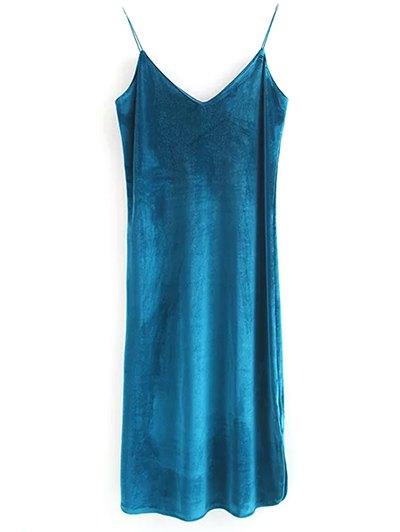 Elastic Strap Midi Velvet Dress - PEACOCK BLUE S Mobile