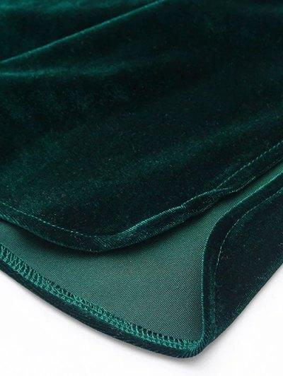Elastic Strap Midi Velvet Dress - OLIVE GREEN M Mobile