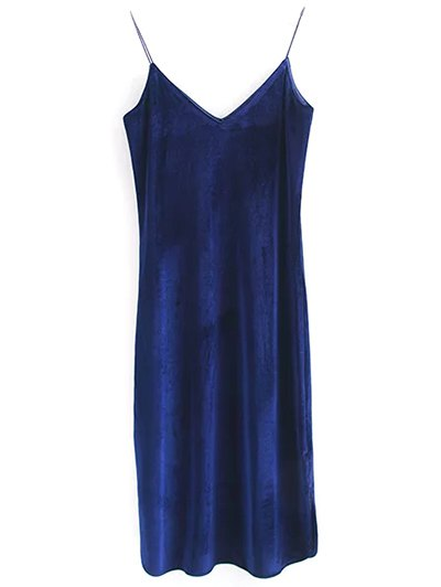 Elastic Strap Midi Velvet Dress - CADETBLUE S Mobile