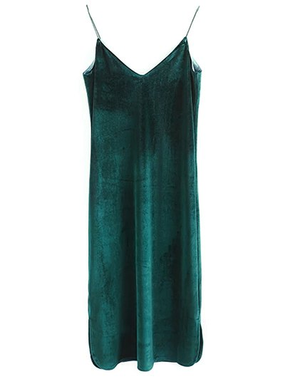 Elastic Strap Midi Velvet Dress - BLACKISH GREEN S Mobile