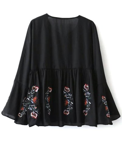Embroidered Bell Sleeve Babydoll Blouse - BLACK M Mobile