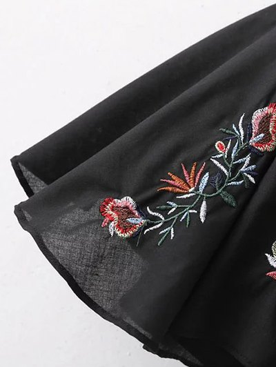 Embroidered Bell Sleeve Babydoll Blouse - BLACK L Mobile