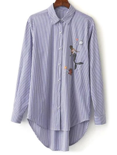 Embroidered High-Low Stripe Shirt - BLUE L Mobile