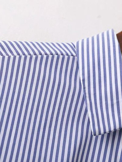 Embroidered High-Low Stripe Shirt - BLUE S Mobile