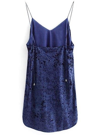 Crushed Velvet Cami Dress - CADETBLUE M Mobile
