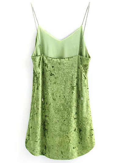 Crushed Velvet Cami Dress - GREEN M Mobile