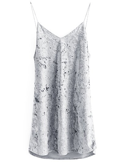Crushed Velvet Cami Dress - GRAY M Mobile